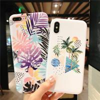 ingrosso modelli di fragole-10 modelli moda IMD Marble Case Coconut Tree modello TPU morbido stile telefono casi per iPhone X 6 6S 7 8 Plus