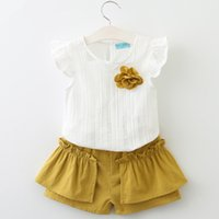Wholesale Flying Outfits - Summer kids stripe outfits 2018 New girls lace hollow stereo flowers brooch ruffle fly sleeve tops+mustard falbala short 2pcs sets R2195