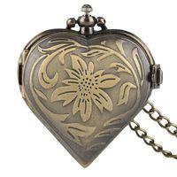 женщина смотреть форму сердца оптовых-Lovely Heart Shape Quarzt Pocket Watch Women Fob Pocket Watch Necklace Lovers's Jewelry Valentines Gifts Relogio De Bolso
