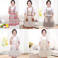Wholesale oil deck - Fashion Apron Home Furnishing Kitchen Accessories Double Deck Pocket Pinafore Anti Oil Pollution Wide Shoulder Broken Flower 4 9hh WW