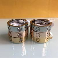 anéis indianos da faixa venda por atacado-Moda Feminina homens Famosa marca de cristal jóias carter anéis de amor de aço de titânio de luxo Rose Gold bijoux casal amantes anel