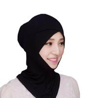 gorra de abaya al por mayor-Musulmana Pañuelo en el interior Sombrero Cap Bonete Malla inferior Hijab Bufanda Cubierta Abaya Turbante Sombrero Con Capucha Instantáneo Árabe Islámico