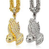buddha gold plattenkette großhandel-2018 Rock Hip Hop Schmuck Männer Halskette Buddha Hände Anhänger Herren Schmuck Hiphop Gold Silber Überzogene Kette Halsketten Colar Rap