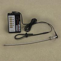 kateter çubuğu toptan satış-Süper Uzun 260mm Paslanmaz Çelik Üretral Kateter Sesler Metal Çubuk Elektro Şok Erkekler Için Seks Oyuncakları Boncuklu Penis Fiş Horoz Halka