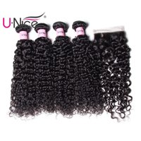 Wholesale UNice Icenu Remy Hair Series Brazilian Kinky Curly Human Hair Bundles With Lace Closure Peruvian Hair Extensions Weave Closure Bulk Cheap