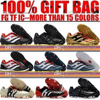 Wholesale Great Indoors - Great Quality Original 2018 Leather Predator Precision FG IC TF Turf Soccer Boots Indoor Football Cleats Predator Mania Champagne FG Shoes