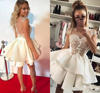 Wholesale Unique Mini Dresses - 2018 Unique Sexy White Homecoming Dresses In Stock Sleeveless High Neck Pattern Ball Gown Prom Party Dresses