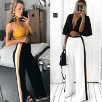 tramo de campana al por mayor-Pantalones 2018 nuevas mujeres de la manera de la pierna acampanada campanas de pierna de campana de estiramiento pantalones de cintura alta Legging