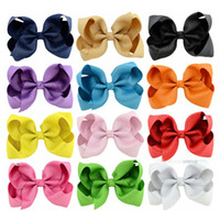 Wholesale baby accessories online - Fashion Baby hairclips Ribbon Bow Hairpin Clips Girls solid Bowknot Barrette Kids Hair Boutique Bows Children Hair Accessories KFJ183