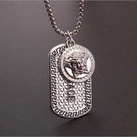 Wholesale metal slide tin - Hot sale Punk medusa Gold hip hop neckalce Metal Alloy Silver Necklace & Pendants Hip Hop Jewelry for Men and Women