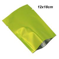 termosellado bolsas de galletas al por mayor-Sample 12X18 cm Green Open Top Mylar Foil Bolsa de sellado térmico para galletas de caramelo Papel de aluminio Heat Seal Bolsa de almacenamiento de vacío Bolsas de embalaje