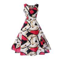 impressão digital vestido vintage venda por atacado-Vestido de verão Gothic Impressão Digital Mulheres Robe Sem Mangas Expansão Moda Feminina Elegante Do Partido Do Vintage Swing Vestidos