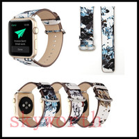 Wholesale painted black band resale online - For Apple Watch Strap Bands Genuine Real Leather Straps Chinese Ink Painting Band mm Bracelets With Adapter