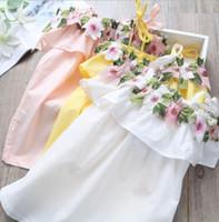Wholesale shoulder dress decorations online - INS Girl Clothes Summer Girl Off Shoulder Floral Embroidery Decoration Dress kids elegant Ruffles dress free ship colors