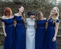 off omuz şerit gelinlik toptan satış-Lacivert Dantel Gelinlik Modelleri 2018 Zarif Kapalı Omuz Şerit Kanat Uzun Gelinlik Modelleri Düğün Konuk Elbiseleri