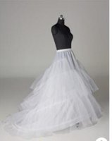 Wholesale white skirt slip - A Line Crinoline Bridal 3 Hoop Petticoats For Wedding Dress Wedding Under Skirt Accessories Slip With Train