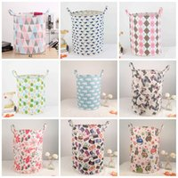 Wholesale dirty laundry clothing online - Folding Dirty Clothes INS Basket High Capacity Cotton Linen Laundry Storage Baskets Printed Washing Hamper Top Quality kk B