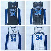 chemises junior bon marché achat en gros de-Hommes Vintage Duke Blue Devils 34 Maillot de Basketball Wendell Carter Junior College