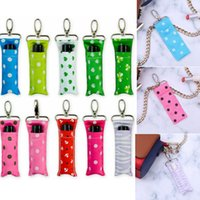 Wholesale clips for keychains resale online - Polka Dots Lipstick Holders with Key Chain Clip Female Lip Print Chapstick Palm Holder Keychain Lipstick Pouch Bag For Women Girls AAA321