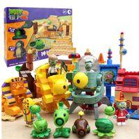 juguetes zombie para niños al por mayor-Bloques de construcción Minifigures Acción juego caliente Plants vs Zombies PVZ can luach Kids Christmas hoilday Regalo DIY Toys 6 Modle elige