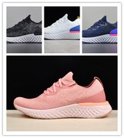 Wholesale top quality soft Epic React fly knit shoes pink white blue gray black with original box