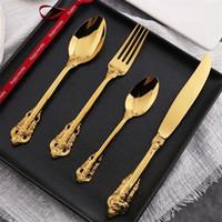placas de grabado de metal al por mayor-Juego de vajilla plateado oro retro Juego de vajilla cuchillo de tenedor resistente de acero inoxidable Juego de vajilla de lujo camafeo de calidad superior 42 6md2 BB