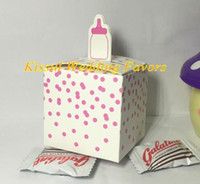 Wholesale baby bottle candy for sale - Group buy pieces baby shower guests favor box of of Classic Blue and Pink Baby Bottle shaped candy box for baby decoration gift