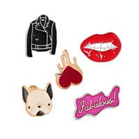 куртки для животных оптовых-2018 любящий собака одежда губы письма брошь булавки воротник сумка куртка броши ювелирные изделия для женщин девушка