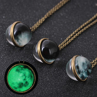 Wholesale glass fluorescence - Double Side Glow in the Dark Universe Moon Necklace Fluorescence Gemstone Glass Cabochon Necklace Fashion Jewelry DROP SHIP 162672