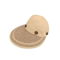 2018 Outdoor Wide Large Brim Floppy Summer Sunscreen Beach Sun Hat Woven  Straw Hat Button Cap Hats For Women 653a116f4bca