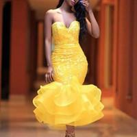 encaje amarillo té longitud al por mayor-Vestidos de fiesta de sirena de longitud de té amarillo Apliques de encaje de novia con gradas falda vestido de coctel Vestido formal de fiesta de las muchachas de desgaste formal