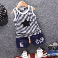 Wholesale stars baby clothing - Fashion Children Boys Girls Summer Clothing Suits Baby Vest Shorts 2Pcs Kids Embroidery Star Clothes Toddler Tracksuits