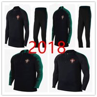 Wholesale Mens World - PORTUGAL tracksuit 2018 World Cup Top Thailand black 18-19 Training suit pants football training clothes sportswear mens Sweater