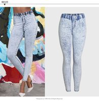 Wholesale New Style Trousers For Women - 2017122123 New Plus Size Ultra Stretchy Acid Washed Jeans Woman Denim Pants Trousers For Women Pencil Skinny Jeans