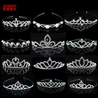 ingrosso i monili dei capelli per i capretti-AINAMEISI Princess Crystal Diademi e corone Fascia per capelli Kid Girls Love nuziale Prom Crown Wedding Party Accessiories Gioielli per capelli