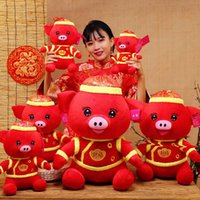 Wholesale best stuffed animals online - 2018 New year Cute Blessing Pig Plush Toy Doll Pig Year Mascot Stuffed Animals Toys Best Christmas present for kids