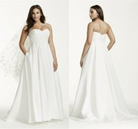 Wholesale maternity wedding dresses online - Beautiful Simple Ruched Bodice Plus Size Maternity Wedding Dresses Taffeta Bridal Gowns Sweetheart Backless Wedding Dress With Pocket