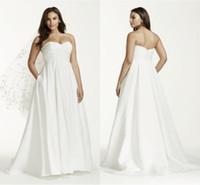 vestido de novia de tafetán al por mayor-Hermoso simple blusa acanalada más el tamaño de maternidad vestidos de novia vestidos de novia de tafetán cariño sin espalda 2016 vestido de novia con bolsillo