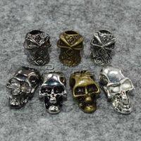 ingrosso confezione verticale-10 pz / pacco perline cranio singolo foro verticale metallo per cordini di coltello Paracord