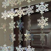 laser pvc venda por atacado-Interior de Casa NOVO Design Natal de 8m Snowflake Pvc Laser lantejoulas cortina do floco de neve decoração da árvore de Natal