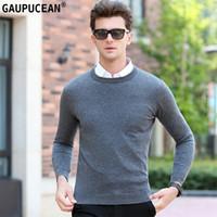 Wholesale plain pullover sweater - 100% Pure Wool Men Sweater Winter Knitting Grey Plain Woolen Knitwear Male Pullover Round Neck Casual Long Sleeve Man Sweaters