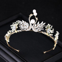 Wholesale clear plastic round ornaments - Bride crown princess beautiful water drill pearl swan princess crown birthday crown headgear bride ornaments