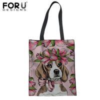 bolsas ecológicas lindas al por mayor-FORUDESIGNS Cute Beagles Pet Dog bolso de compras plegable bolsa de lona respetuoso del medio ambiente regalo de las señoras floral Harajuku bolsa de asas reutilizable