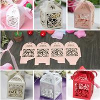 bebek aşk kuşları toptan satış-Kutu 10 adet Hollow Aşk Kalp Kuş Tarzı Düğün Favor Kurdele Ile Favor Şeker Hediye Kek Kutuları Doğum Günü Bebek Duş noel