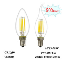 Wholesale LED Filament Bulb E12 E14 W W W Edison Candle Light V V V C35 Clear Glass Lamp for Crystal Pendant Chandelier Fixture