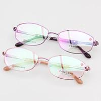 marcos de lentes titanium purple mujeres al por mayor-Gafas de moda Gafas Mujeres Anteojos Fullrim Marco Rosa Púrpura Oval Alloy Gafas de titanio Lentes ópticas RX Lindo