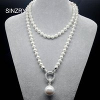 Wholesale korean silver heart necklace for sale - Group buy Sinzry Exquisite Jewelry A Cubic Zircon Simulated Pearl Pendant Long Sweater Necklaces Korean Party Jewelry Accessory