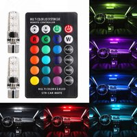 Wholesale amber red led strobe for sale - Group buy T10 W5W LED Car Lights LED Bulbs RGB With Remote Control Strobe Led Lamp Reading Lights White Red Amber V