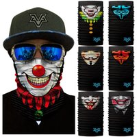 Wholesale headscarf styles - 10 Styles 3D Clown Magic Scarf Versatile Sports Face Headbands Stretchable Neck Gaiter Seamless Headscarf For Motorcycle Free DHL G707F