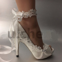 zapatos de vestir de la cinta al por mayor-Zapatos de boda para mujer Marfil Ribbon vestidos de novia para novia Edición de encaje manual de diamantes de boda Wedge Peep Toe zapato femenino TAMAÑO UE 35-42